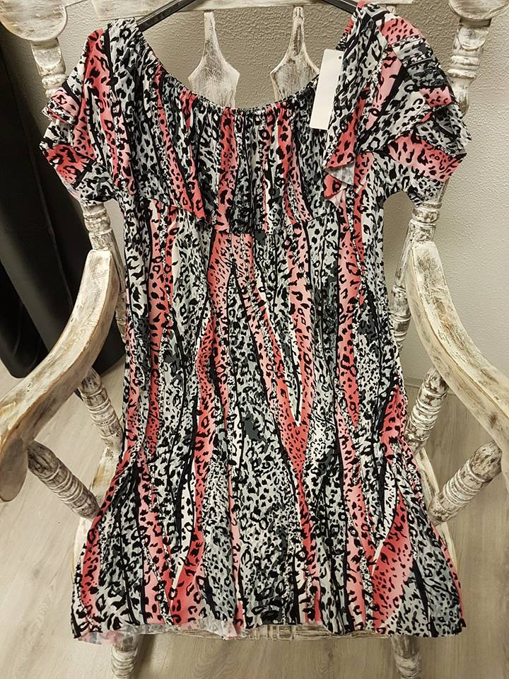 Zwart Grijs Jurkje.Off Shoulder Jurkje Panter Roze Zwart Grijs Patty S Fashion Shoes